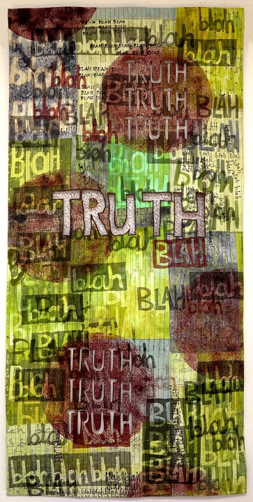 The Truth Will Always Shine Through. Pierced art quilt by Claire Passmore 2018